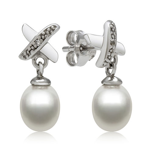 Sterling Silver Cultured Freshwater Pearl and Diamond-Accent Earrings