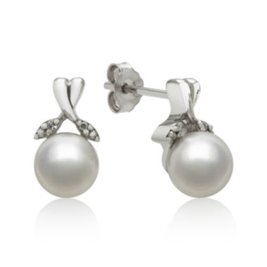 jcpenney.com | Sterling Silver Cultured Freshwater Pearl and Diamond-Accent Earrings