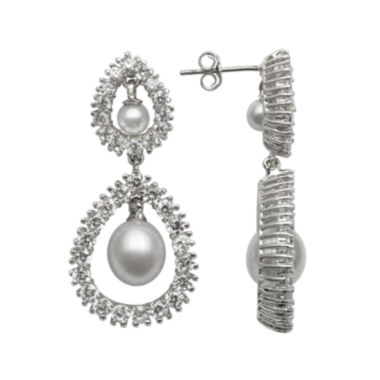 jcpenney.com | Silver Over Brass Cultured Freshwater Pearl and Cubic Zirconia Bridal Earrings