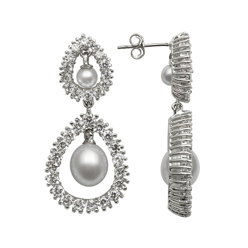 Silver Over Brass Cultured Freshwater Pearl and Cubic Zirconia Bridal Earrings