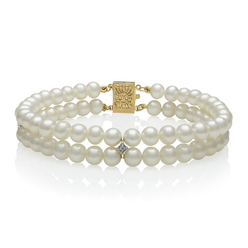 14K Yellow Gold Cultured Freshwater Pearl and Diamond-Accent Bracelet