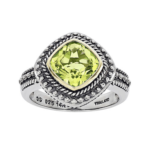 Shey Couture Genuine Peridot Sterling Silver 14K Gold Ring