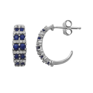 jcpenney.com | Genuine Blue Sapphire and 1/10 CT. T.W. Diamond 10K White Gold Earrings