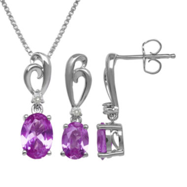 jcpenney.com | Lab-Created Pink Sapphire Sterling Silver Earring and Necklace Set