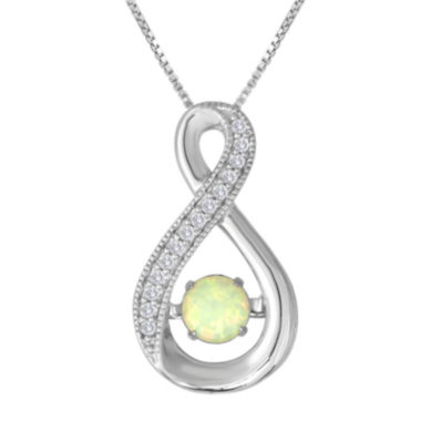 jcpenney.com | Love in Motion™ Lab-Created Opal and White Sapphire Pendant in Sterling Silver