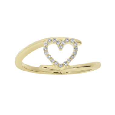 jcpenney.com | 1/10 CT. T.W. Diamond 10K Yellow Gold Heart Bypass Ring