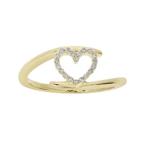 1/10 CT. T.W. Diamond 10K Yellow Gold Heart Bypass Ring