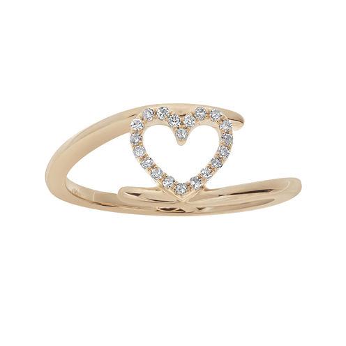 1/10 CT. T.W. Diamond 10K Rose Gold Heart Bypass Ring