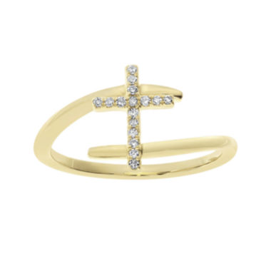 jcpenney.com | 1/10 CT. T.W. Diamond 10K Yellow Gold Cross Bypass Ring