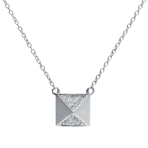 1/10 CT. T.W. Diamond 10K White Gold Pyramid Necklace
