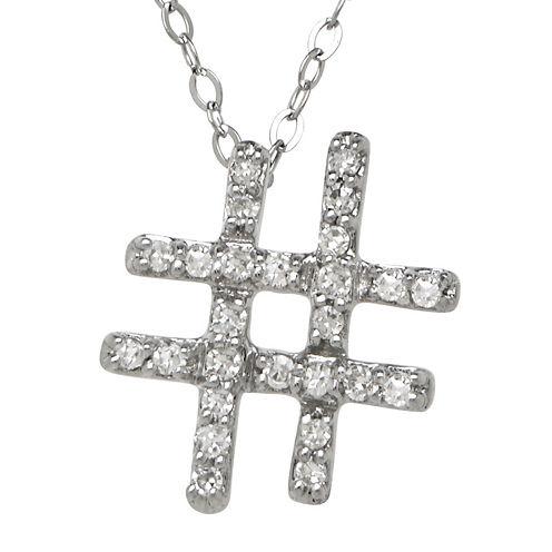 1/10 CT. T.W. Diamond 10K White Gold Hashtag Pendant Necklace