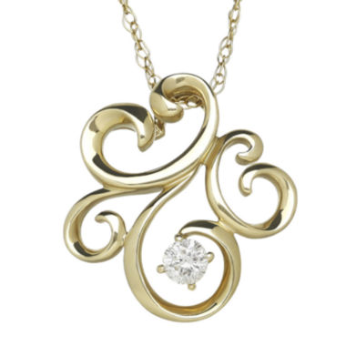 jcpenney.com | 1/10 CT. T.W. Diamond 10K Yellow Gold Pendant Necklace