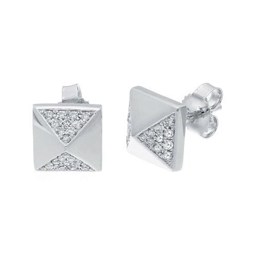 1/7 CT. T.W. Diamond 10K White Gold Pyramid Earrings