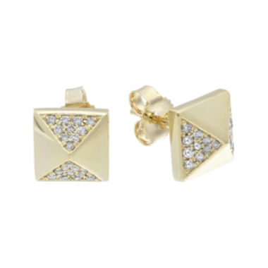 jcpenney.com | 1/7 CT. T.W. Diamond 10K Yellow Gold Pyramid Earrings
