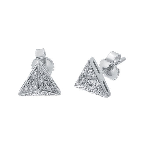 1/10 CT. T.W. Diamond 10K White Gold Pyramid Earrings