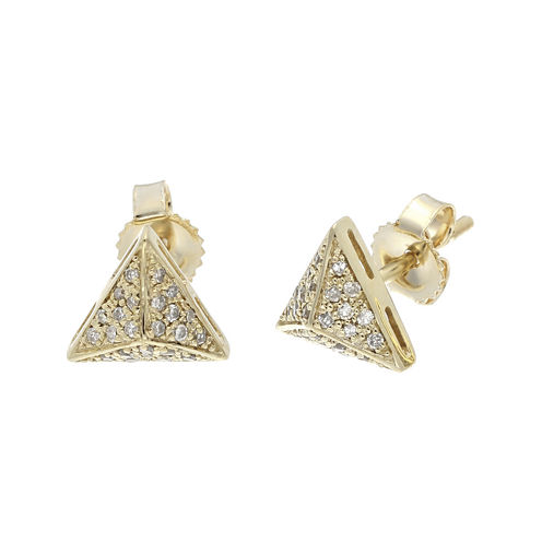 1/8 CT. T.W. Diamond 10K Yellow Gold Pyramid Earrings
