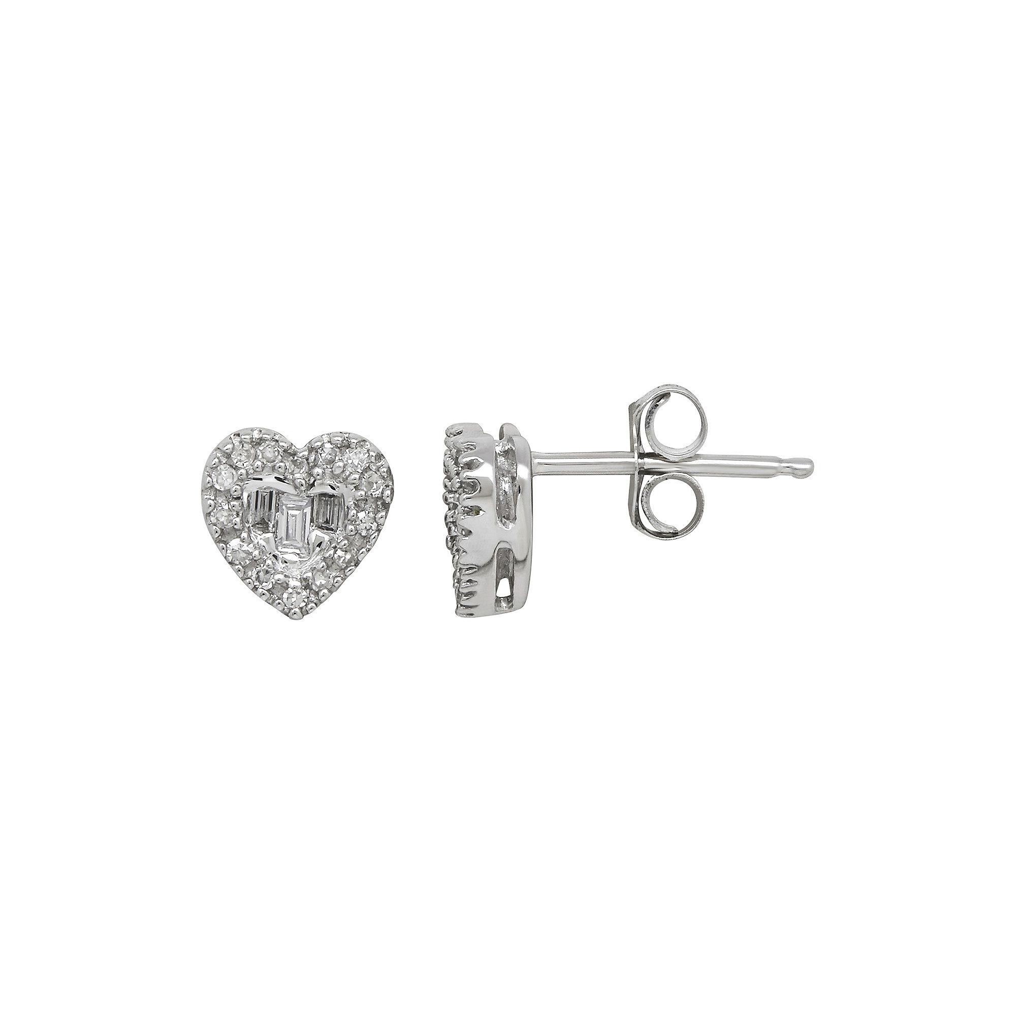Tw Diamond 10k White Gold Heart Earrings Jcpenney