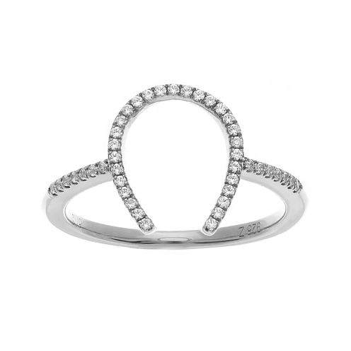 1/7 CT. T.W. Diamond Sterling Silver Horseshoe Ring