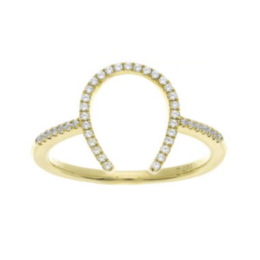 jcpenney.com | 1/7 CT. T.W. Diamond 10K Yellow Gold over Sterling Silver Horseshoe Ring