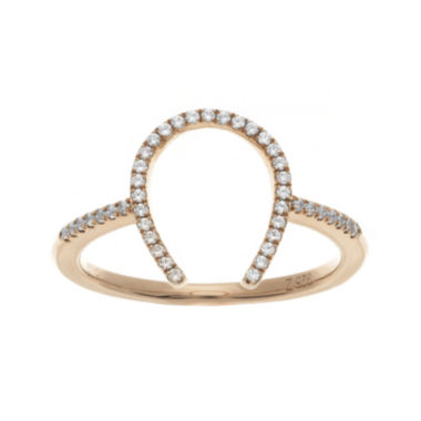 jcpenney.com | 1/7 CT. T.W. Diamond Rose Gold Over Sterling Silver Horseshoe Ring