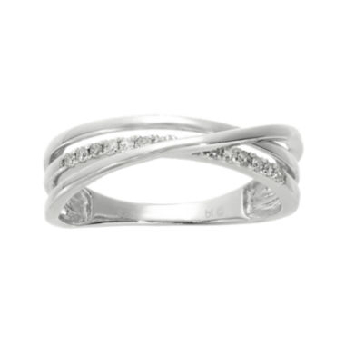 jcpenney.com | 1/7 CT. T.W. Diamond Sterling Silver Crisscross Ring