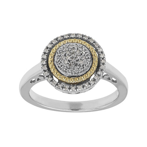 1/8 CT. T.W. Diamond Sterling Silver and 14K Yellow Gold Ring