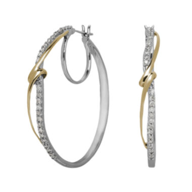 jcpenney.com | 1/2 CT. T.W. Diamond 14K Yellow Gold and Sterling Silver Hoop Earrings