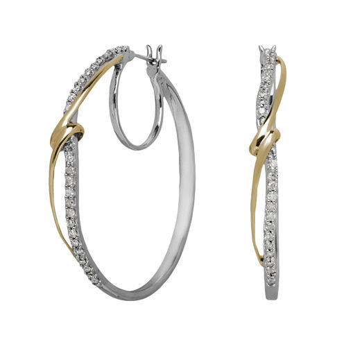 1/2 CT. T.W. Diamond 14K Yellow Gold and Sterling Silver Hoop Earrings