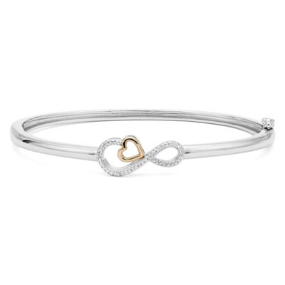 Infinite Promise 1/10 CT. T.W. Diamond Sterling Silver Bangle with 14K Rose Gold Accent