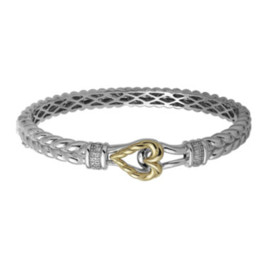 jcpenney.com | Diamond-Accent Sterling Silver and 14K Yellow Gold Bangle Bracelet