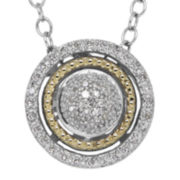 1/7 CT. T.W. Diamond 14K Yellow Gold and Sterling Silver Pendant Necklace