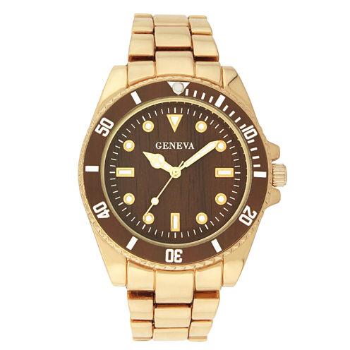 Geneva Womens Gold-Tone and Brown Bracelet Watch