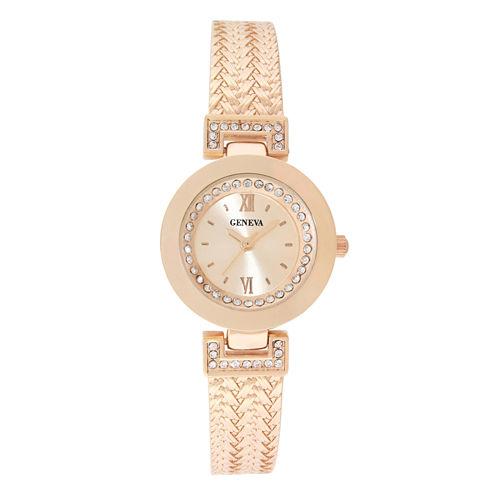 Geneva Womens Rose Gold-Tone Bangle Bracelet Watch