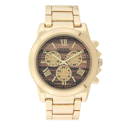 Geneva Womens Gold-Tone and Wood Bracelet Watch