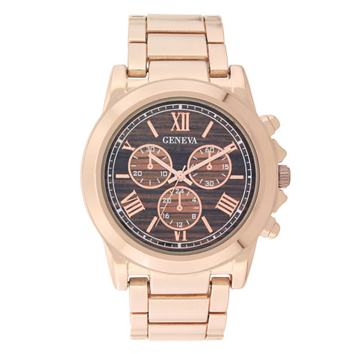 Geneva Womens Rose Gold-Tone and Wood Bracelet Watch
