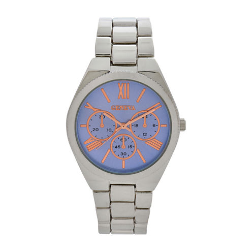 Geneva Womens Silver Tone Bracelet Watch-Wac8549jc