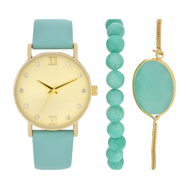 jcpenney.com | Womens Blue Strap Gold Tone Dial Watch Boxed Set-Wac5266jc