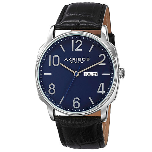 Akribos XXIV Mens Black Strap Watch-A-801bu