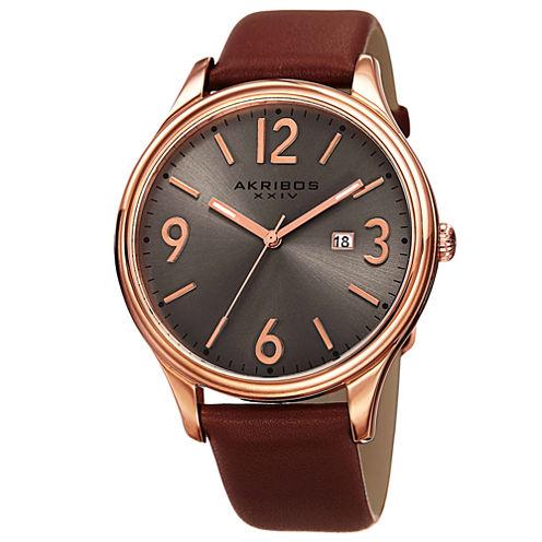 Akribos XXIV Mens Brown Strap Watch-A-869rg
