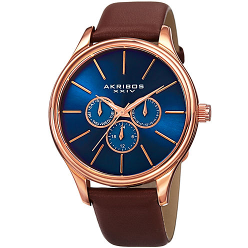 Akribos XXIV Mens Brown Strap Watch-A-870rgbu