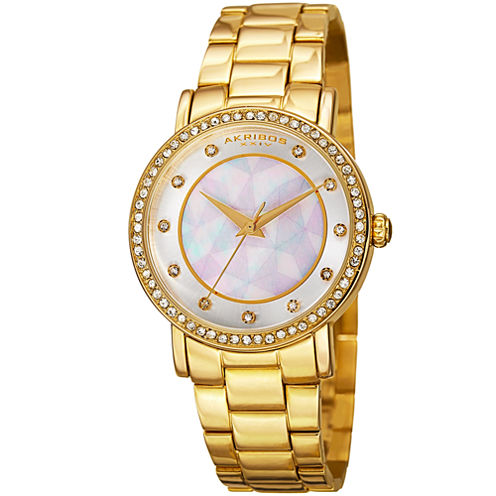 Akribos XXIV Womens Gold Tone Bracelet Watch-A-880yg