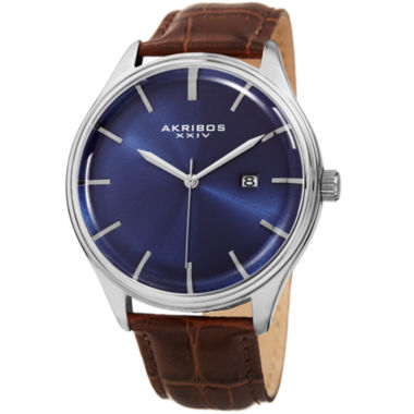 jcpenney.com | Akribos XXIV Mens Brown Strap Watch-A-914ssbu