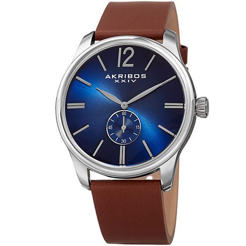 Akribos XXIV Mens Brown Strap Watch-A-916ssbu
