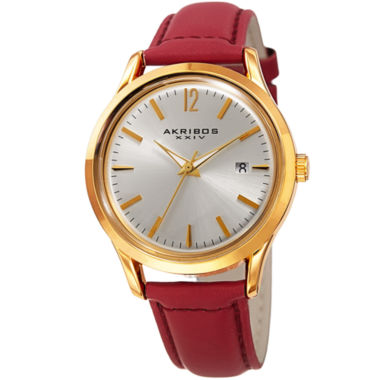 jcpenney.com | Akribos XXIV Womens Red Strap Watch-A-921rd