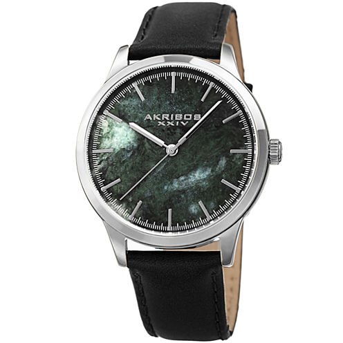 Akribos XXIV Mens Black Strap Watch-A-937bkgn