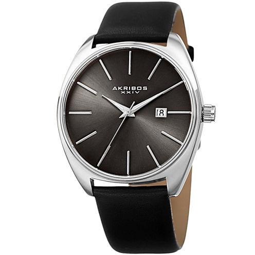 Akribos XXIV Mens Black Strap Watch-A-945ssbk
