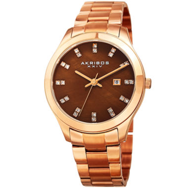 jcpenney.com | Akribos XXIV Womens Brown Bracelet Watch-A-954rgbr