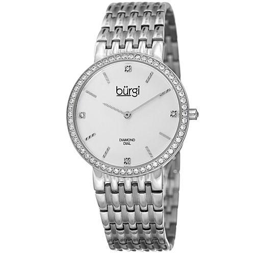 Burgi Womens Silver Tone Bracelet Watch-B-138ss
