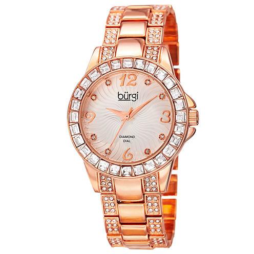 Burgi Womens Rose Goldtone Bracelet Watch-B-137rg