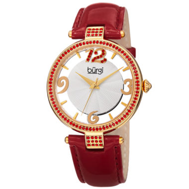 jcpenney.com | Burgi Womens Red Strap Watch-B-150rd